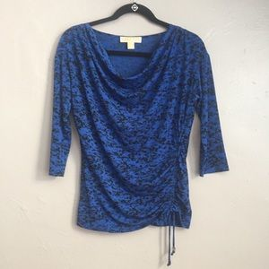 Michael Kors Blue Leopord Print Top Size Medium